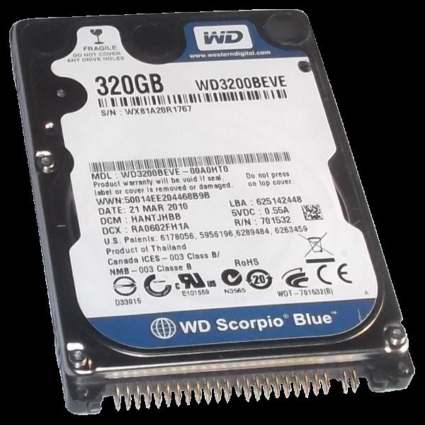 HDD Hard Dish Drive IDE 320GB 2.5 Inch Western Digital WD3200BEVE Scorpio Blue