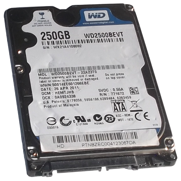 HDD Hard Disk Drive 2,5 Inch 250GB Sata Internal Western Digital WD2500BEVT