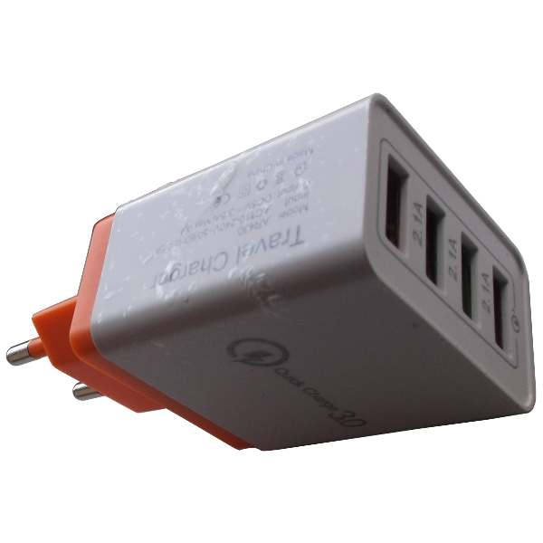 Charger USB QC 3.0 Fast Quick Charge 4-Port 3.5A EU Plug Orange